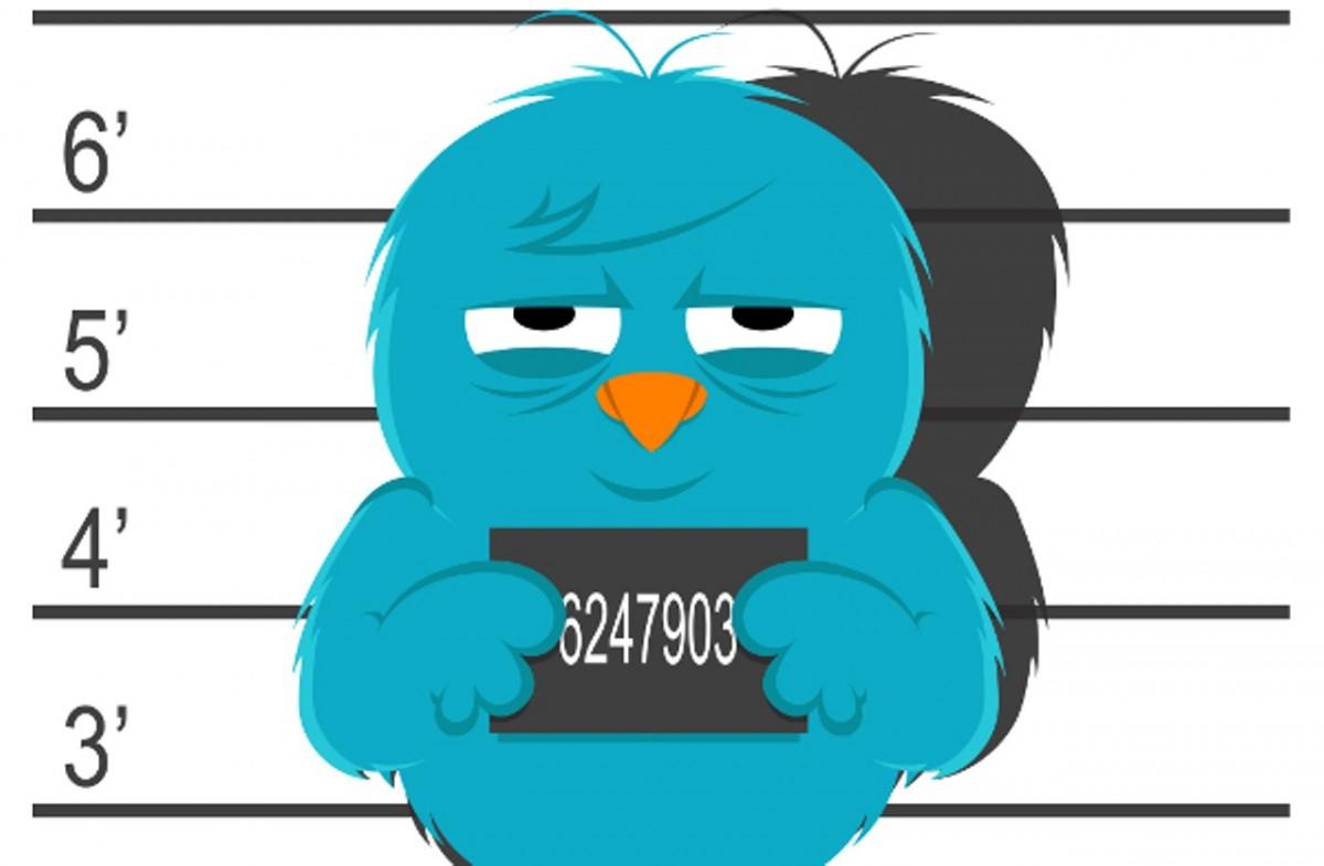 Twitter bird mugshot