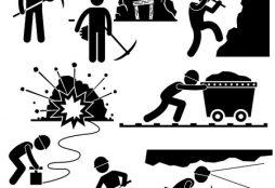 18452156 - mining worker miner labor stick figure pictogram icon