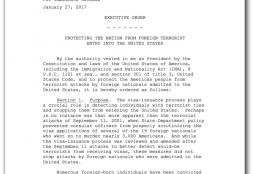 Protecting the nation from foreign terrorist entry into the United States - Executive Order