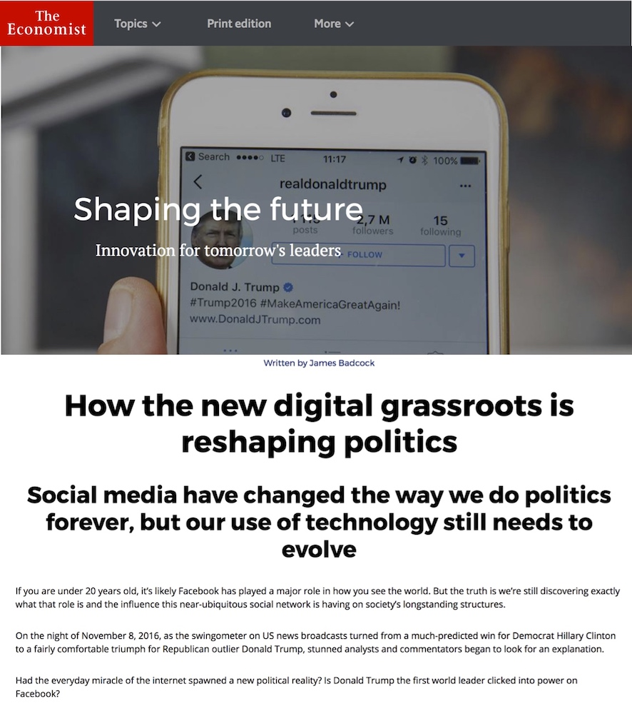 How the new digital grassroots is reshaping politics - The Economist