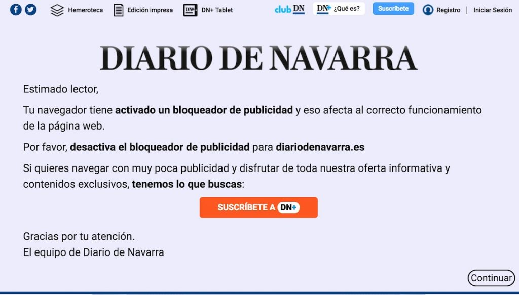 Diario de Navarra blocking the blockers