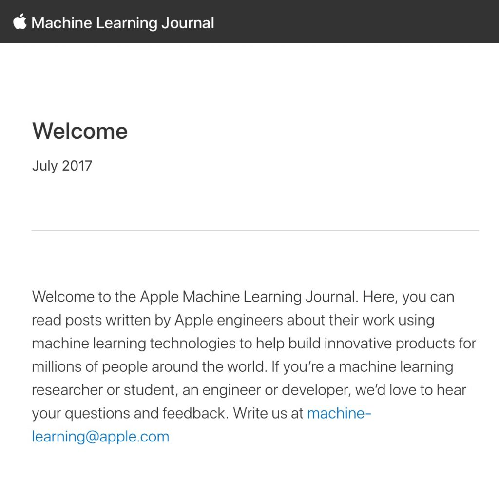 Apple Machine Learning Journal