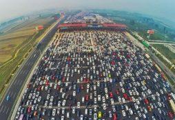 China National Highway 110 traffic jam