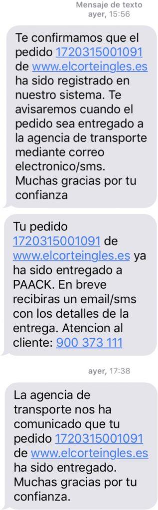SMS de El Corte Inglés