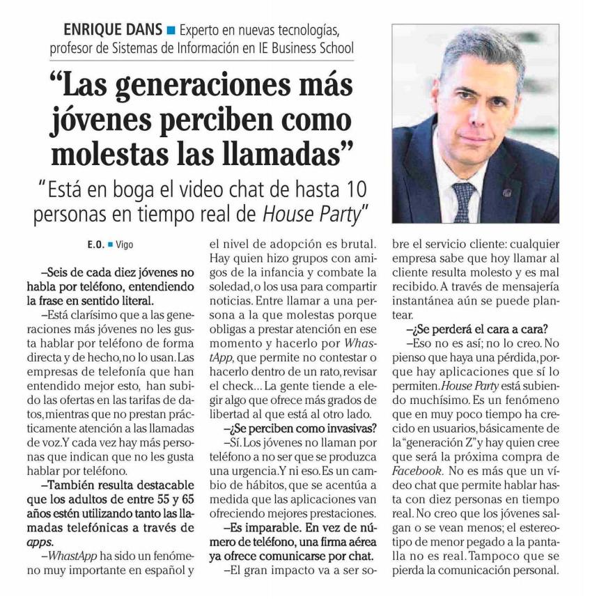 Las generaciones más jóvenes perciben como molestas las llamadas - Faro de Vigo