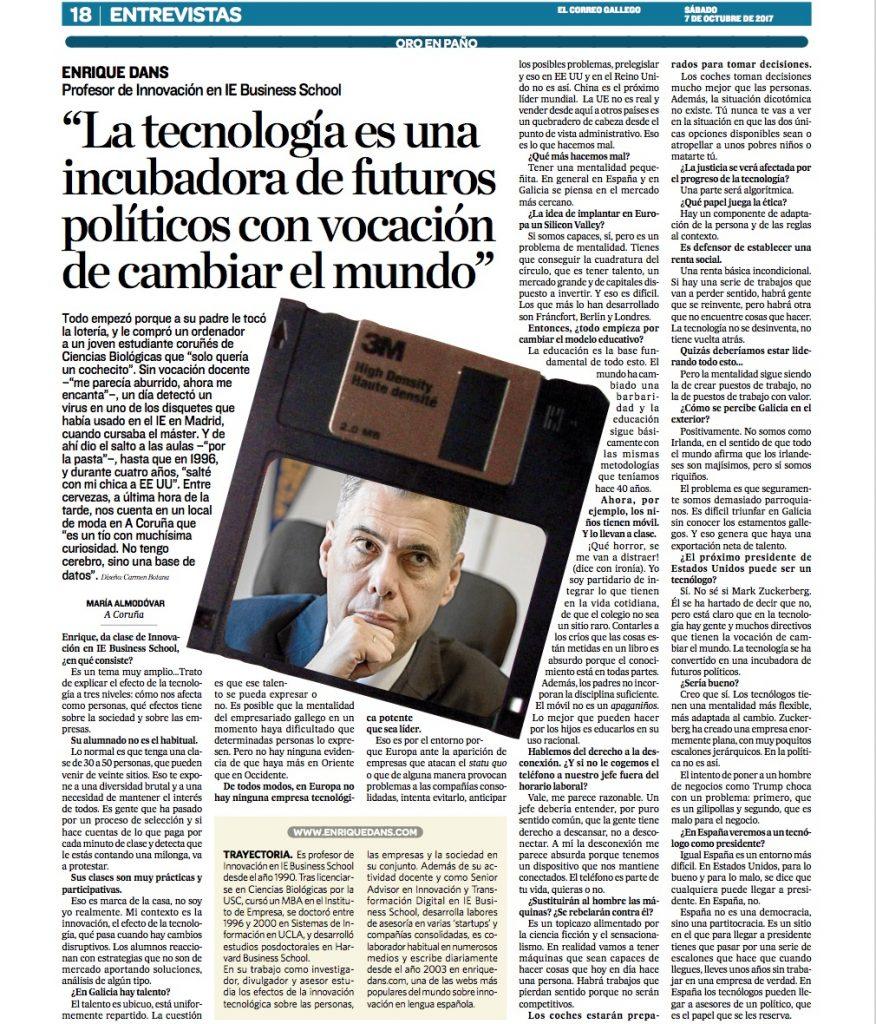 La tecnología es una incubadora de futuros políticos con vocación de cambiar el mundo - El Correo Gallego (pdf)