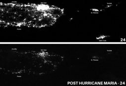 The power grid of Puerto Rico before and immediately Hurricane Maria (NOAA)