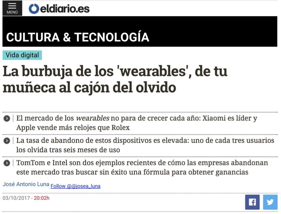 La burbuja de los 'wearables', de tu muñeca al cajón del olvido - El Diario.es