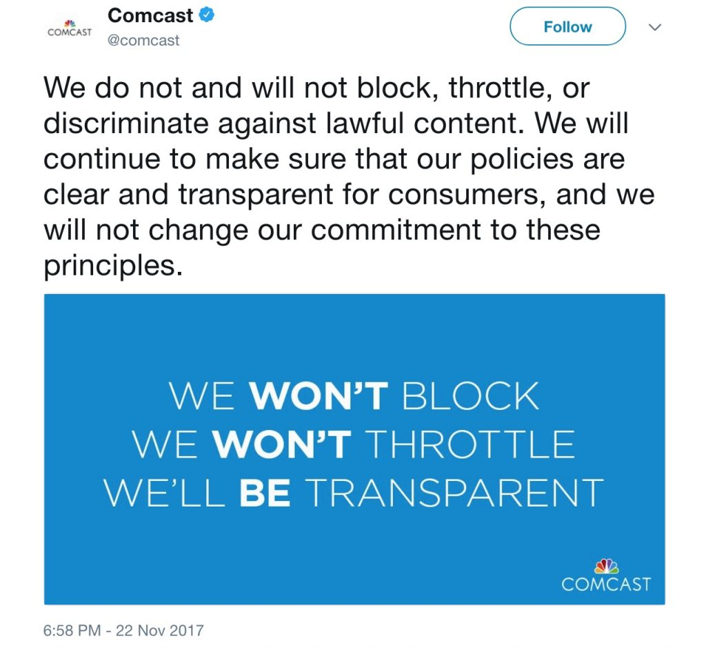 Comcast on Twitter (November 2017)