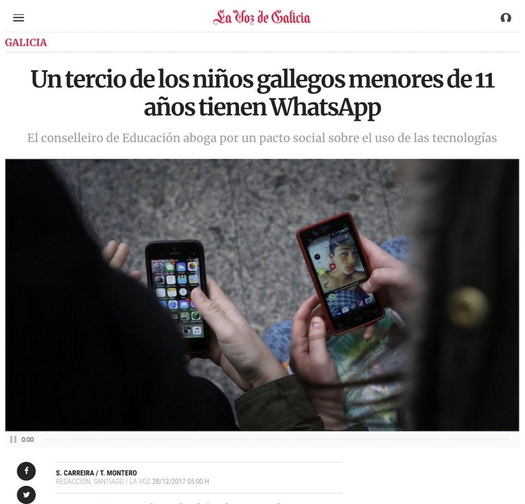 Un tercio de los niños gallegos menores de 11 años tienen WhatsApp - La Voz de Galicia
