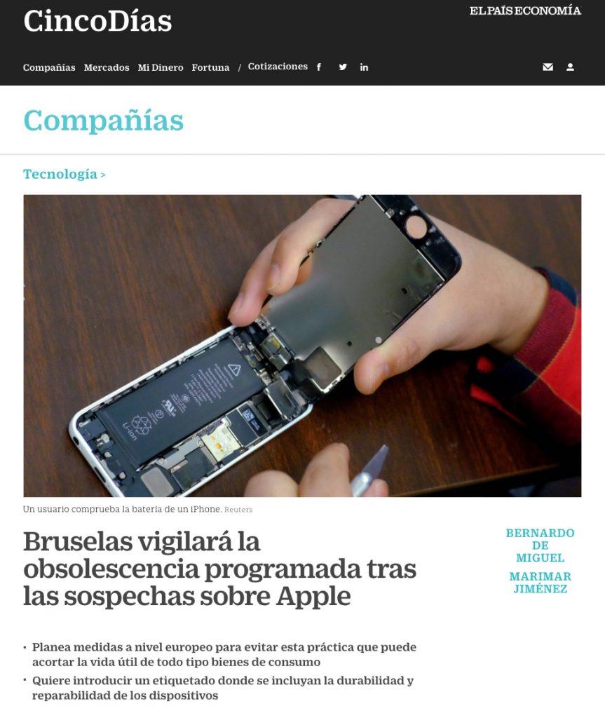 Bruselas vigilará la obsolescencia programada tras las sospechas sobre Apple - El País