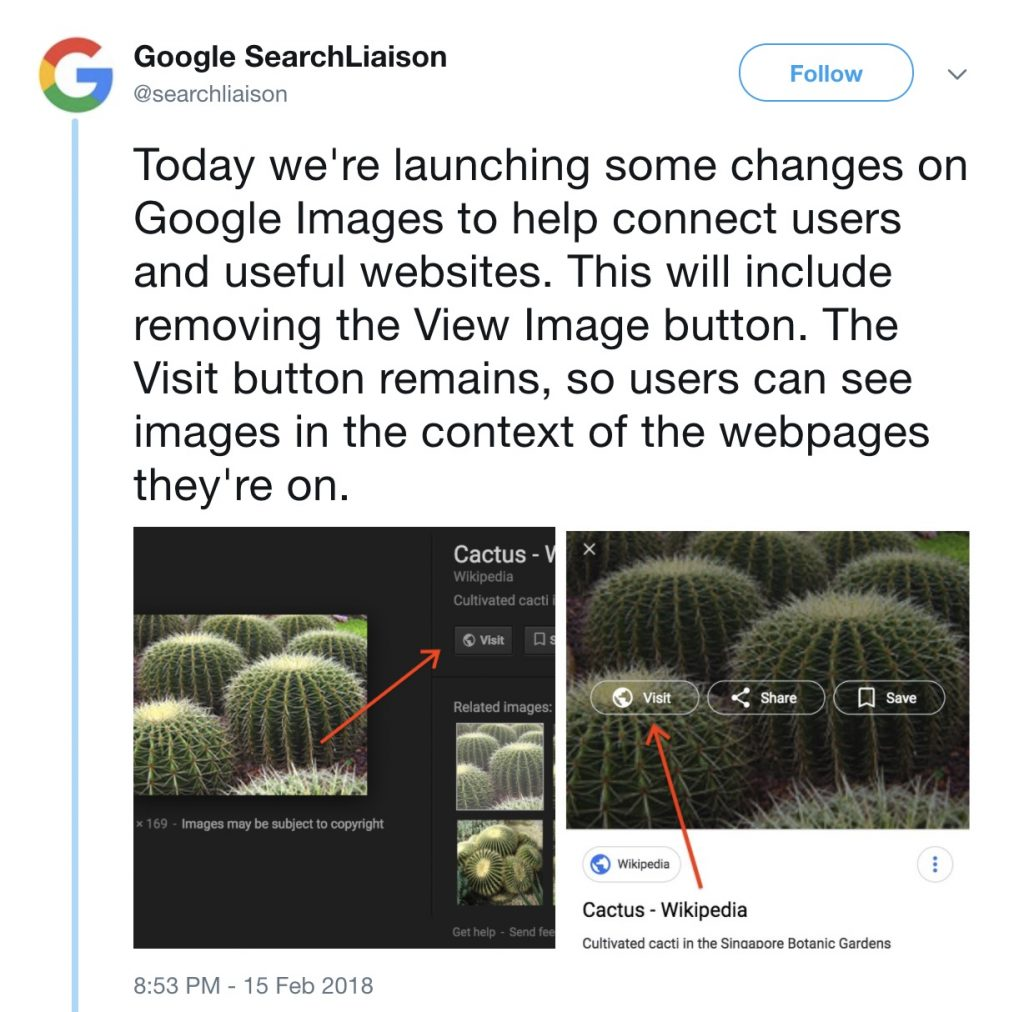 Google Images button announcement