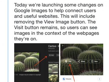 Google Images button announcement