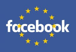 Facebook logo on European flag