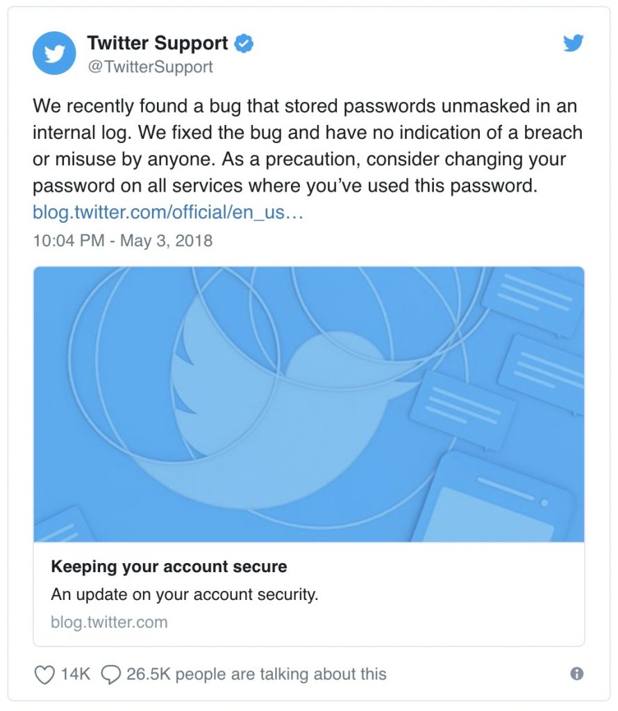 Twitter password bug