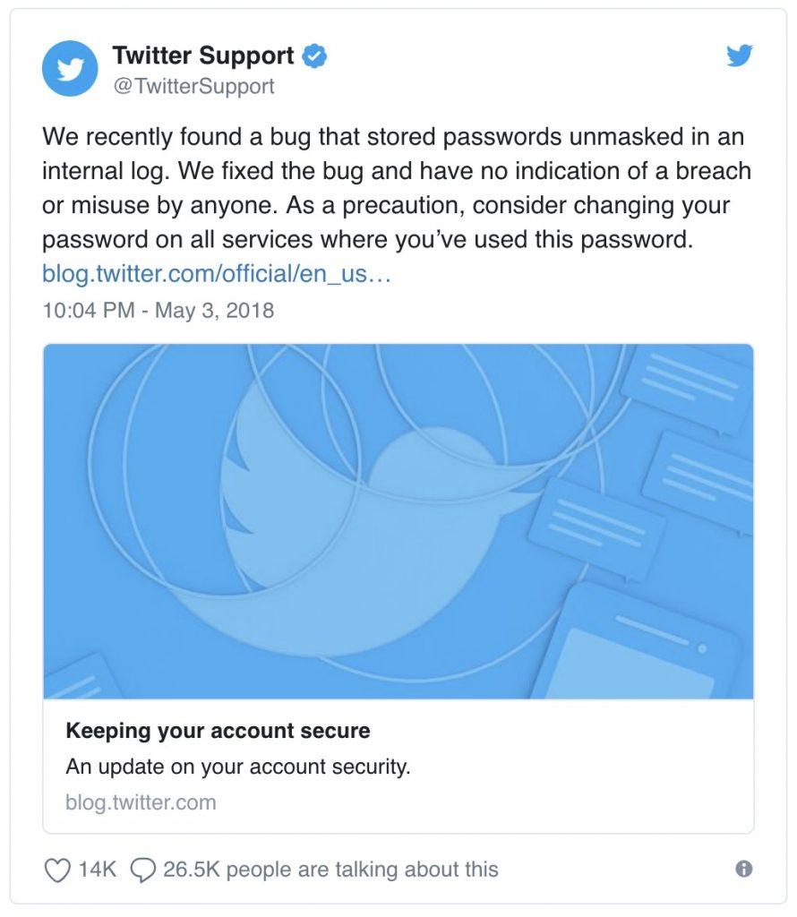 Twitter password bug