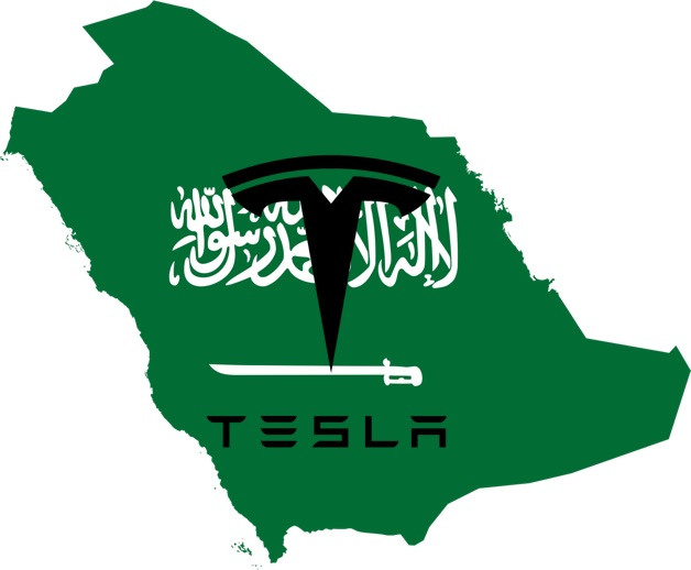 Tesla logo over Saudi Arabia map