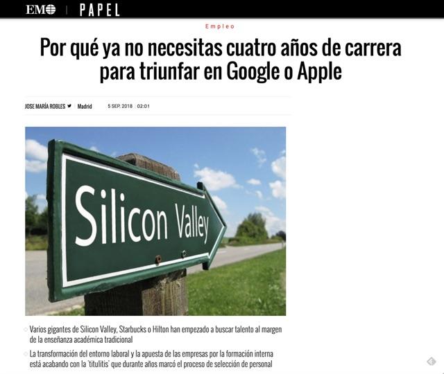 Por qué ya no necesitas cuatro años de carrera para triunfar en Google o Apple - El Mundo