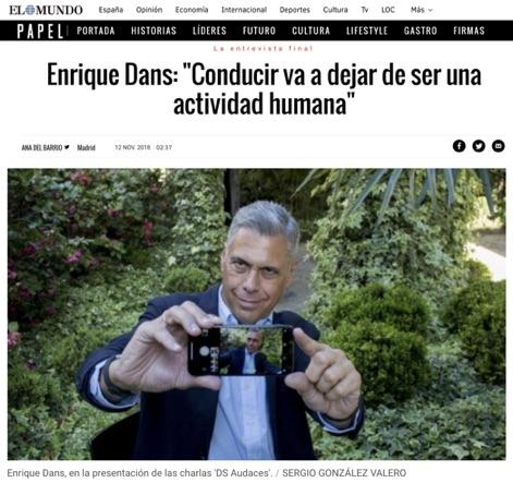 """Enrique Dans: """"conducir va a dejar de ser una actividad hgumana"""" - El Mundo"""