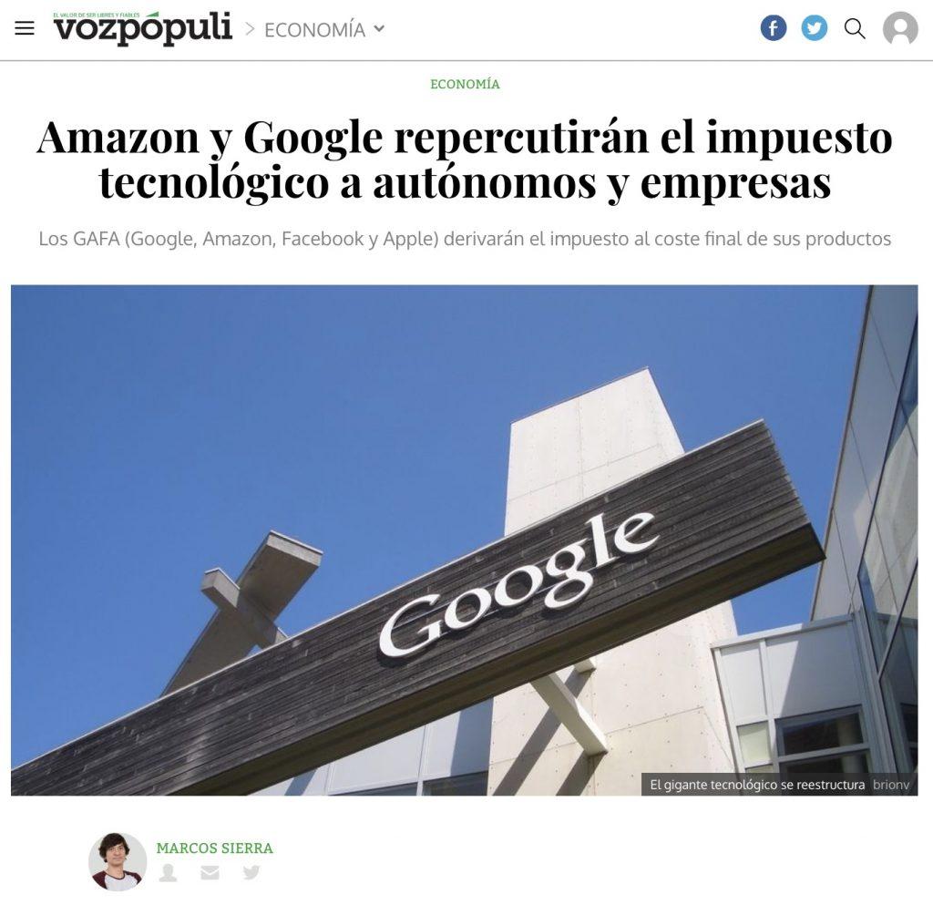 Amazon y Google repercutirán el impuesto tecnológico a autónomos y empresas - VozPópuli
