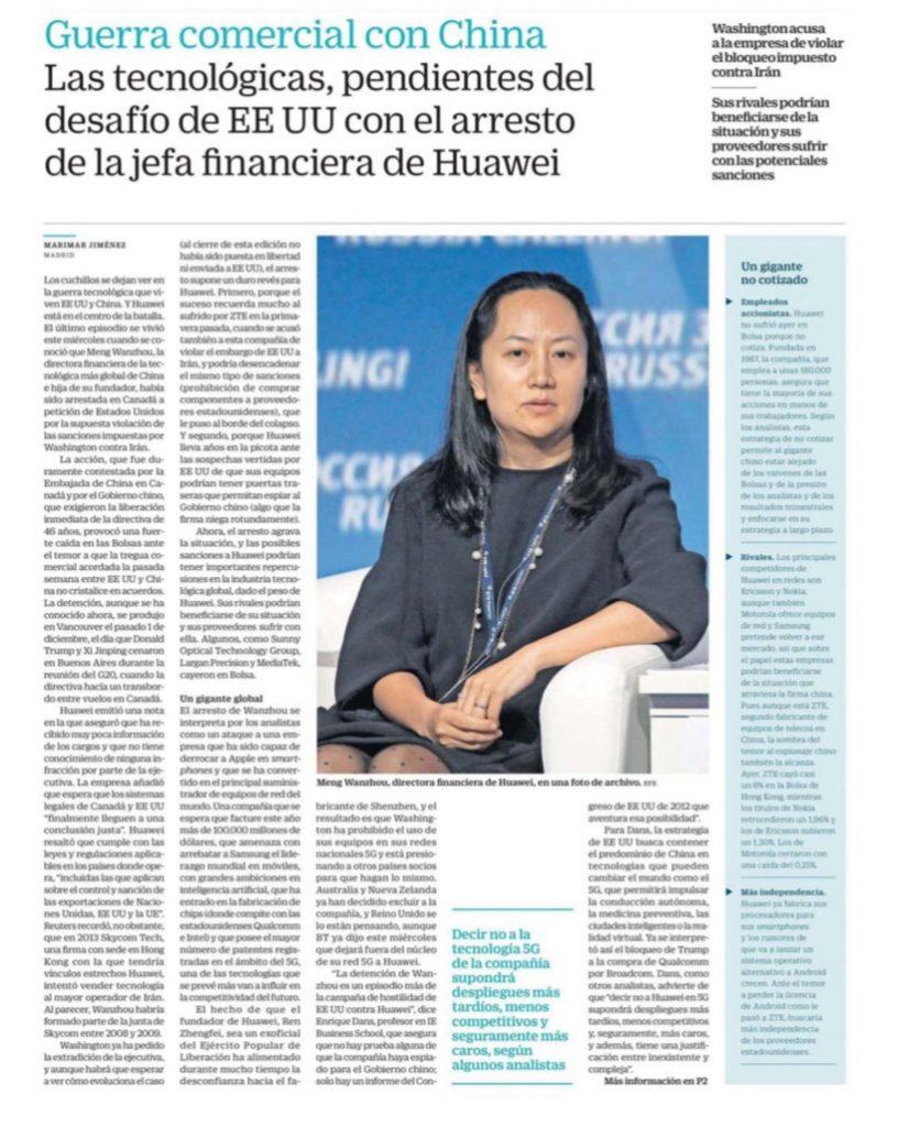 La industria tecnológica, pendiente del desafío de EE UU con el arresto de la jefa financiera de Huawei - Cinco Dias