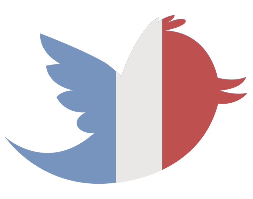 Twitter bird with French flag