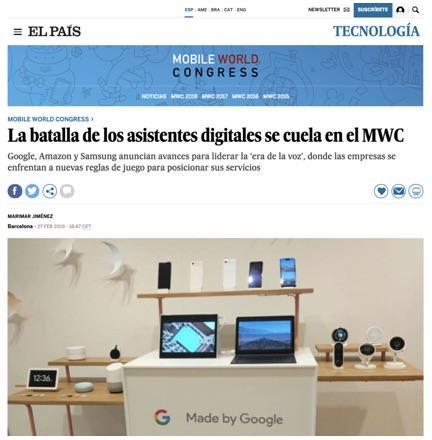La batalla de los asistentes digitales se cuela en el MWC - El País