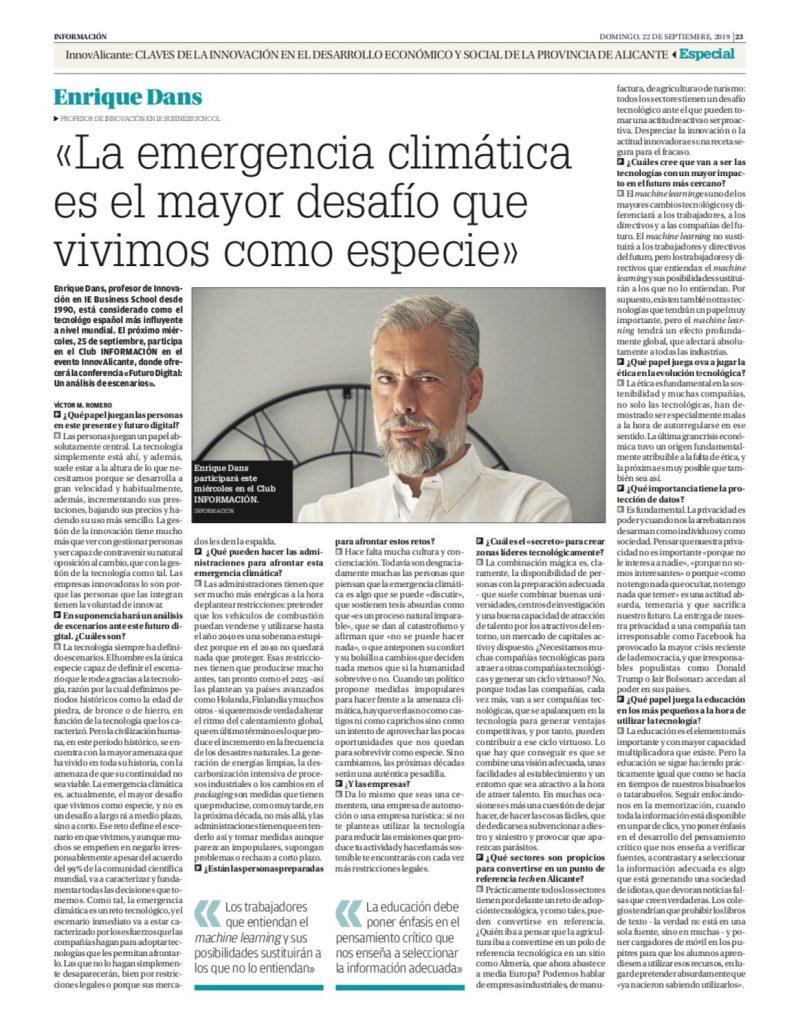 La emergencia climática es el mayor desafío que vivimos como especie - Información