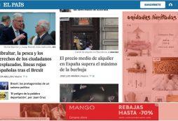 IMAGEN: Portada de El País online (Enero 2020)