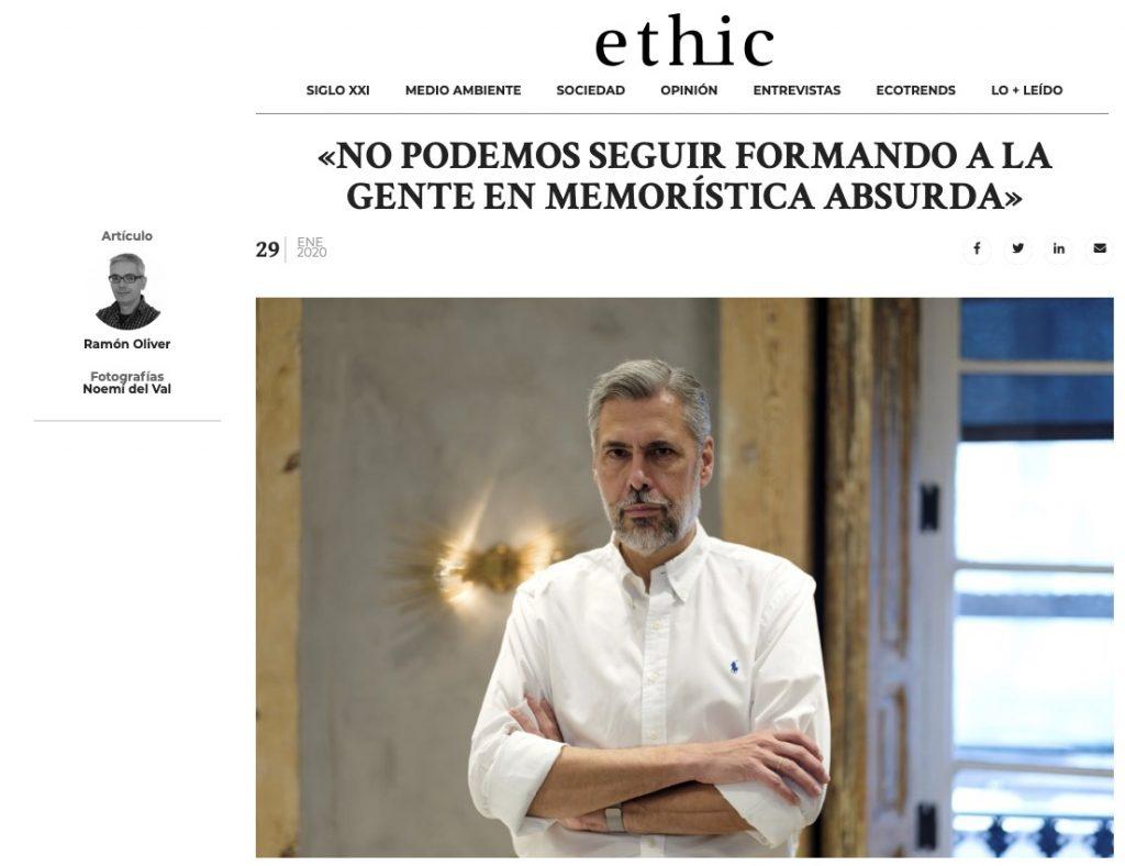 """""""No podemos seguir formando a la gente en memorística absurda"""" - Ethic"""