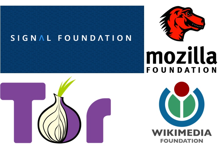 IMAGE:  Signal Foundation, Mozilla Foundation, Tor Project and Wikimedia Foundation logos