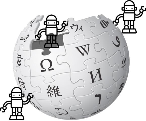 IMAGE: Wikipedia logo and bots (CC0)