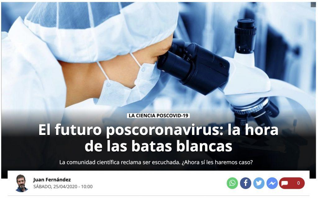 """IMAGE: """"El futuro poscoronavirus: la hora de las batas blancas"""" - El Periódico"""