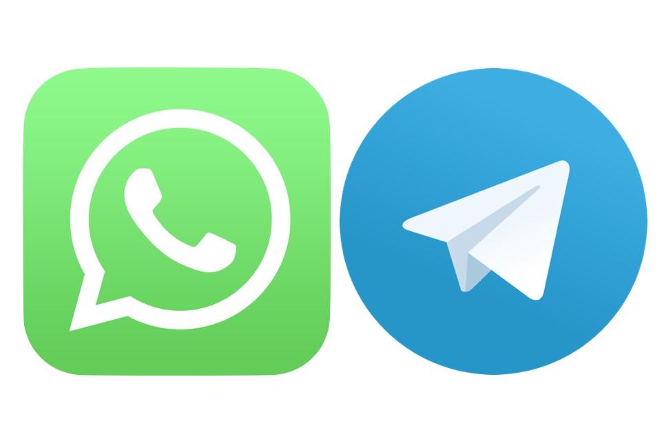 IMAGE: WhatsApp and Telegram logos