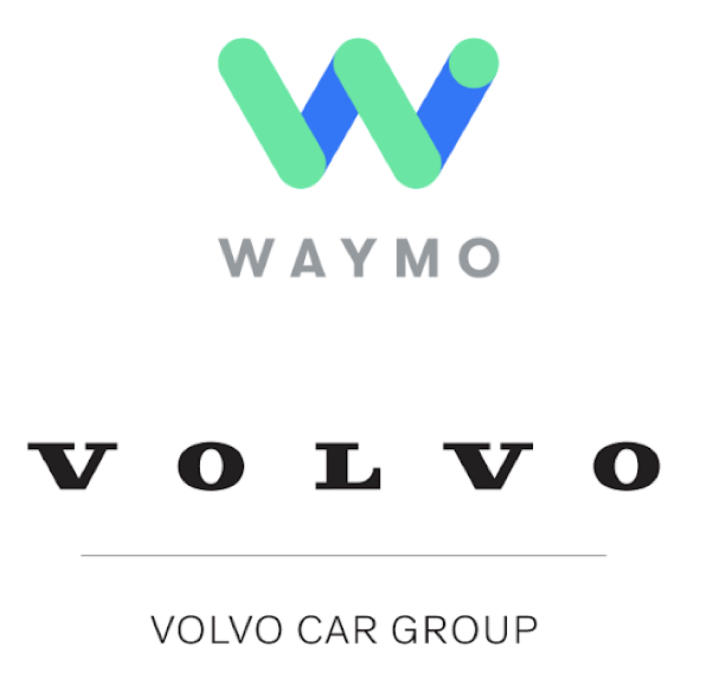 IMAGE: Waymo and Volvo logos