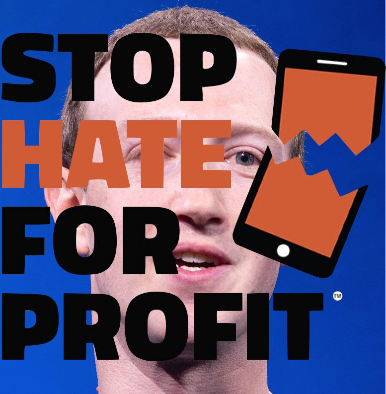 IMAGE: Mark Zuckerberg w/ Stop Hate for Profit logo.