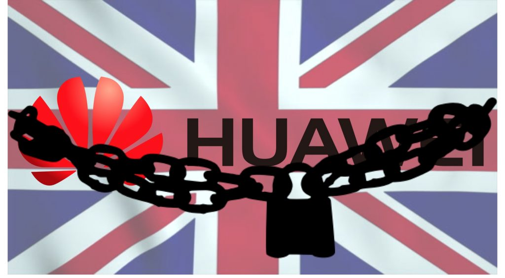 IMAGE: Huawei and lock over UK flag