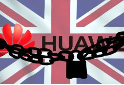 IMAGE: Huawei and lock over UK flag