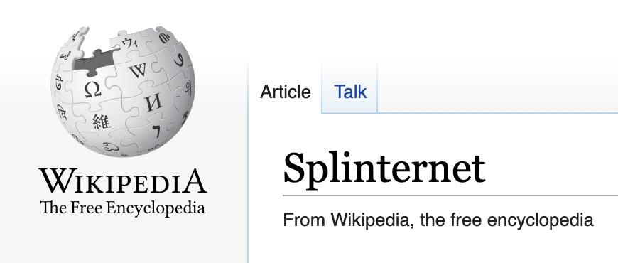 IMAGE: Splinternet definition on Wikipedia