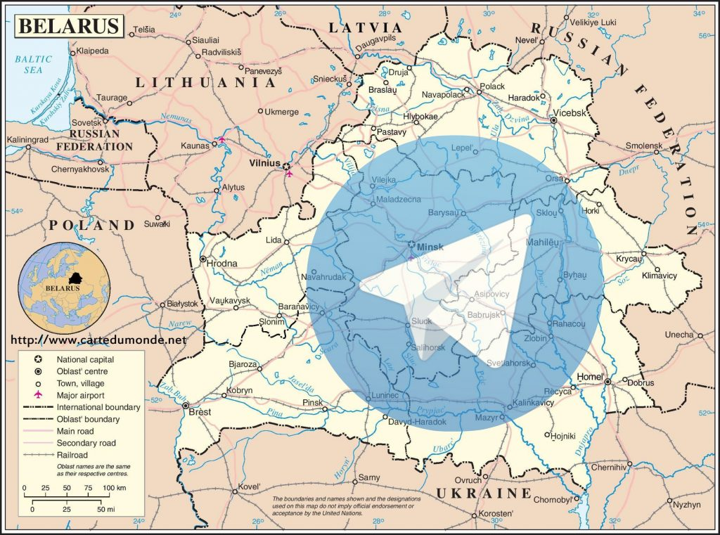 IMAGE: Belarus map and Telegram logo