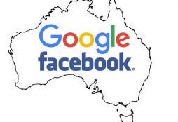 IMAGE: Australia map with Facebook and Google logos