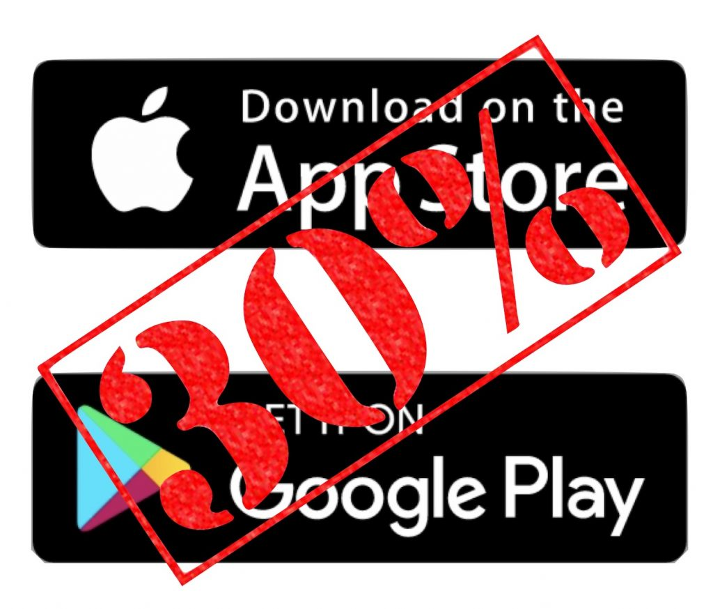 IMAGE: App Store and Google Play logos