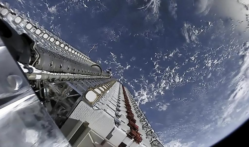 IMAGE: 60 stacked Starlink satellites orbiting Earth prior to deployment - Starlink