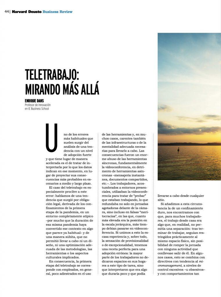 """""""Teletrabajo: mirando más allá"""" - Enrique Dans (Harvard Deusto Business Review)"""