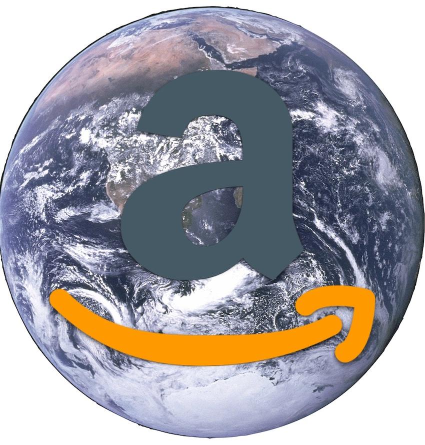 IMAGE: Amazon logo over Earth