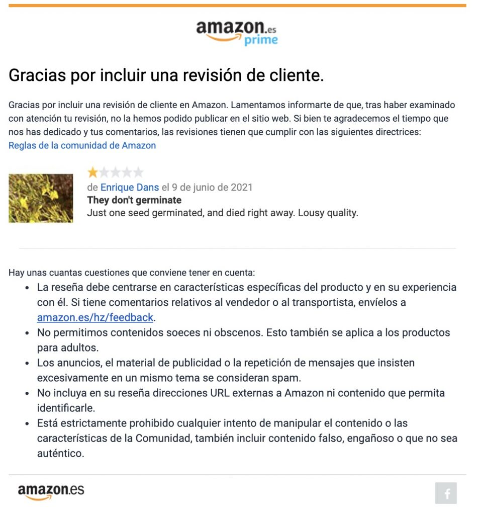 IMAGE: Negative review for Asklepios-seeds rejected by Amazon (E. Dans - CC BY)