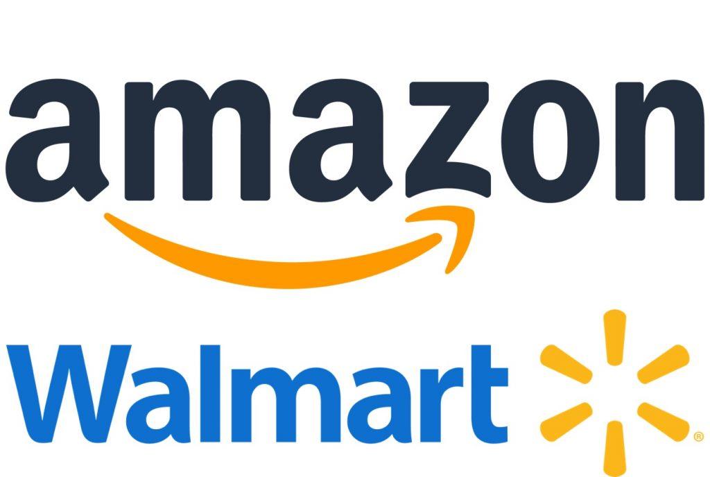 IMAGE: Amazon and Walmart logos