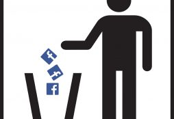IMAGE: Facebook logos being tossed in a trash can