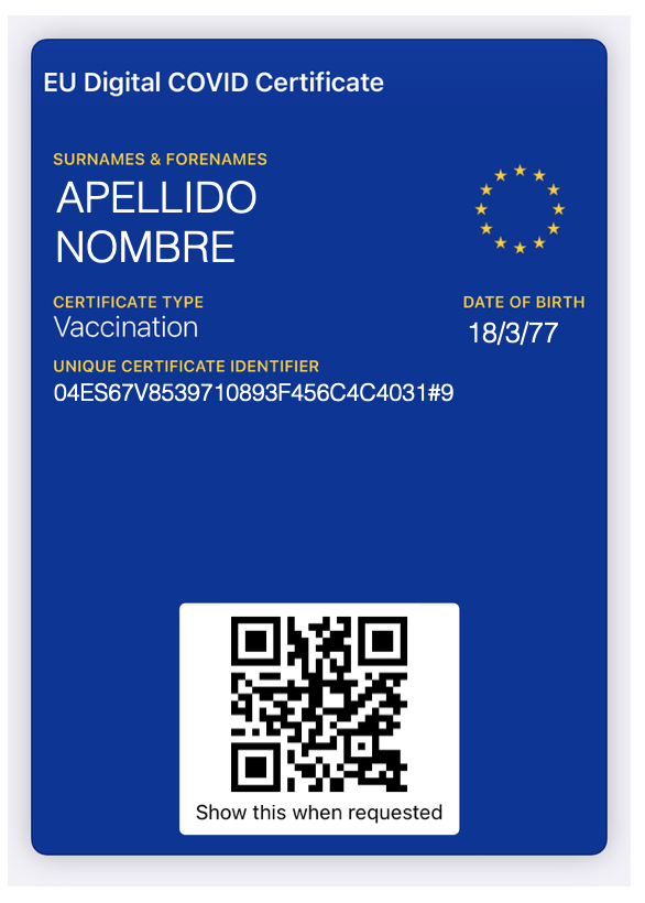 IMAGE: Vaccination certificate example